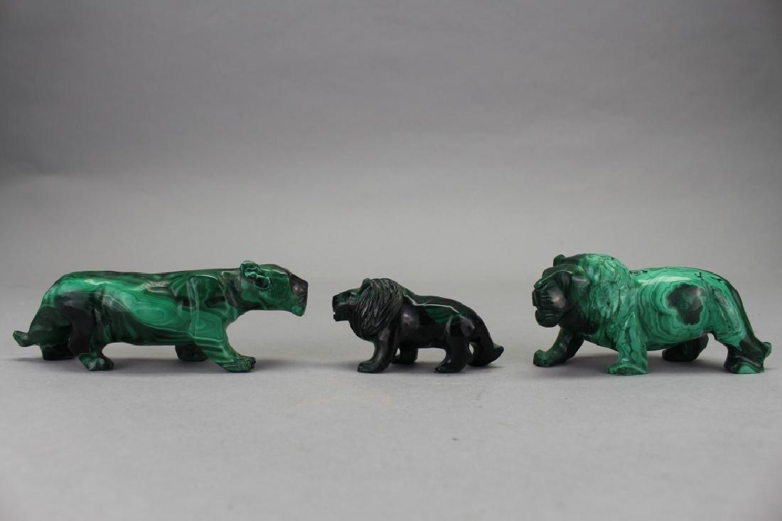 (3) Carved Malachite Animal Figures