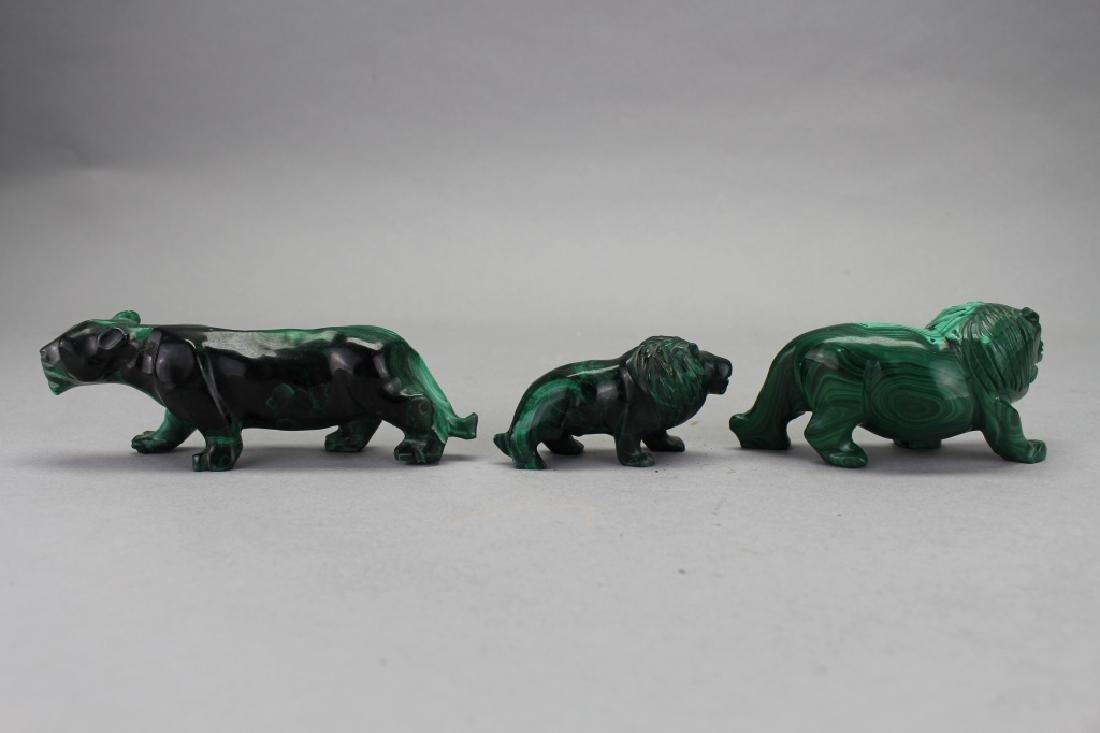 (3) Carved Malachite Animal Figures - 3