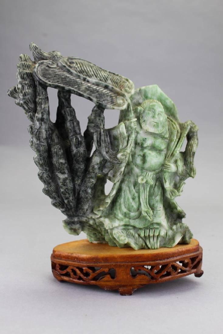 Carved Chinese Spinach Jade Figure on Stand