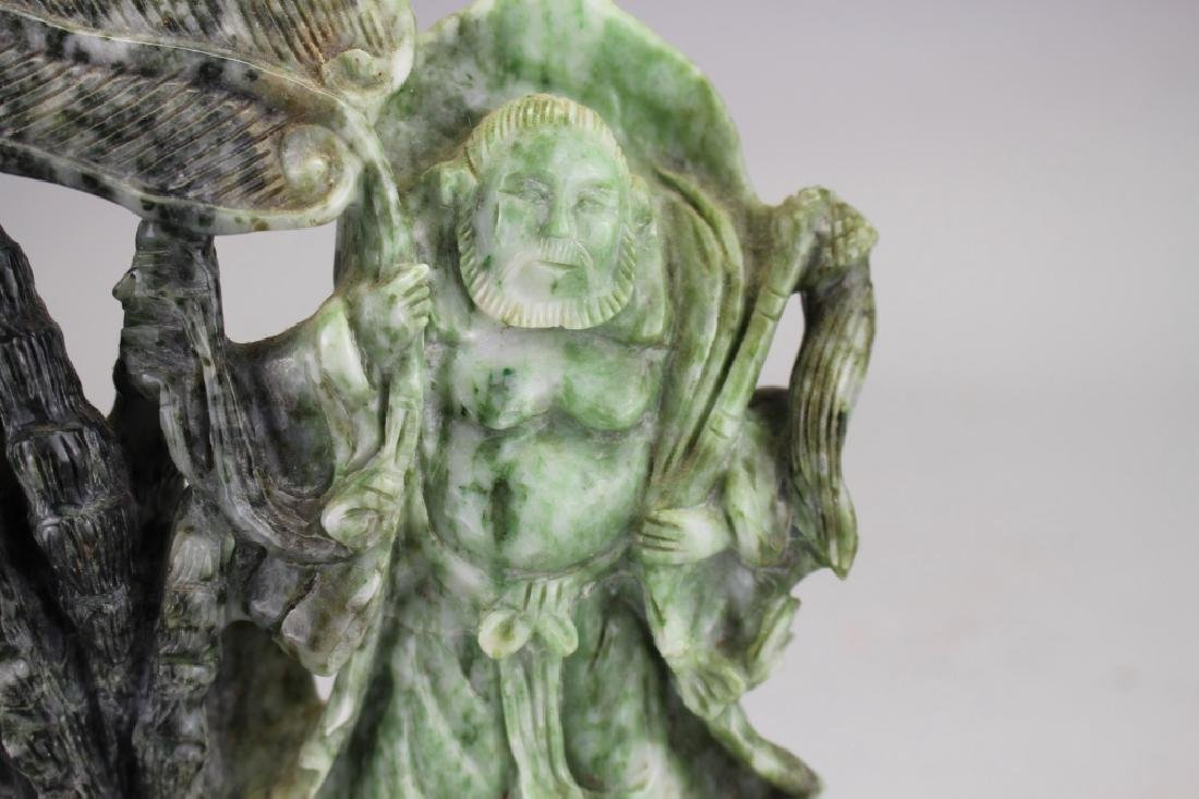 Carved Chinese Spinach Jade Figure on Stand - 2