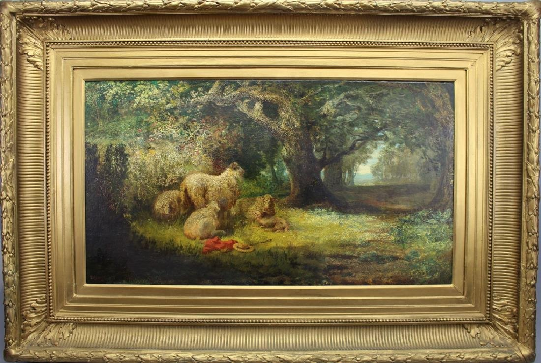 19th C. Signed P. Rossi, Sheep in Wooded Landscape
