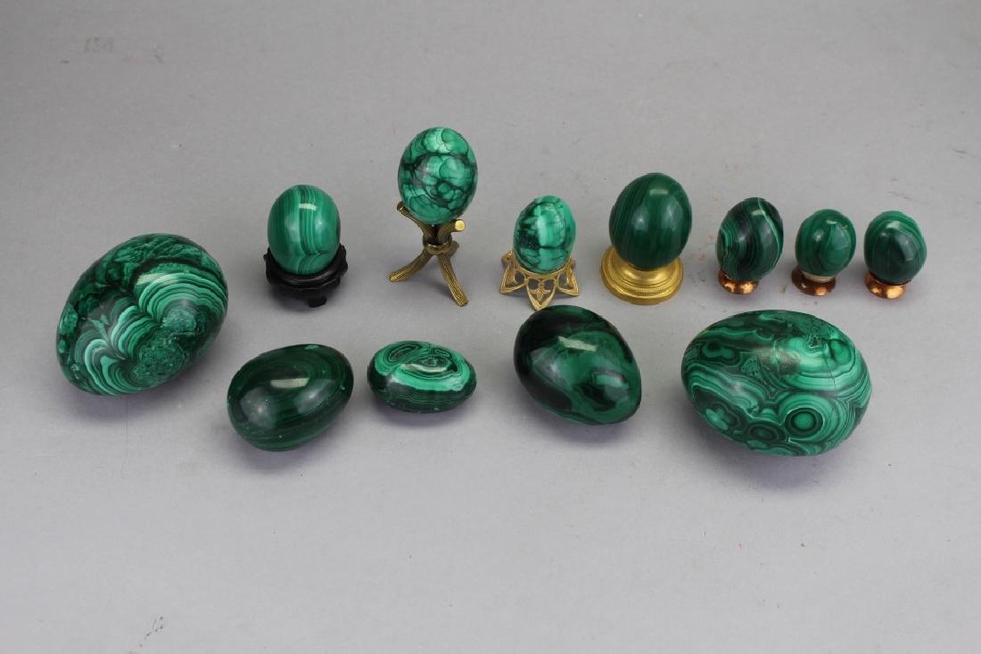 (12) Carved Malachite Eggs