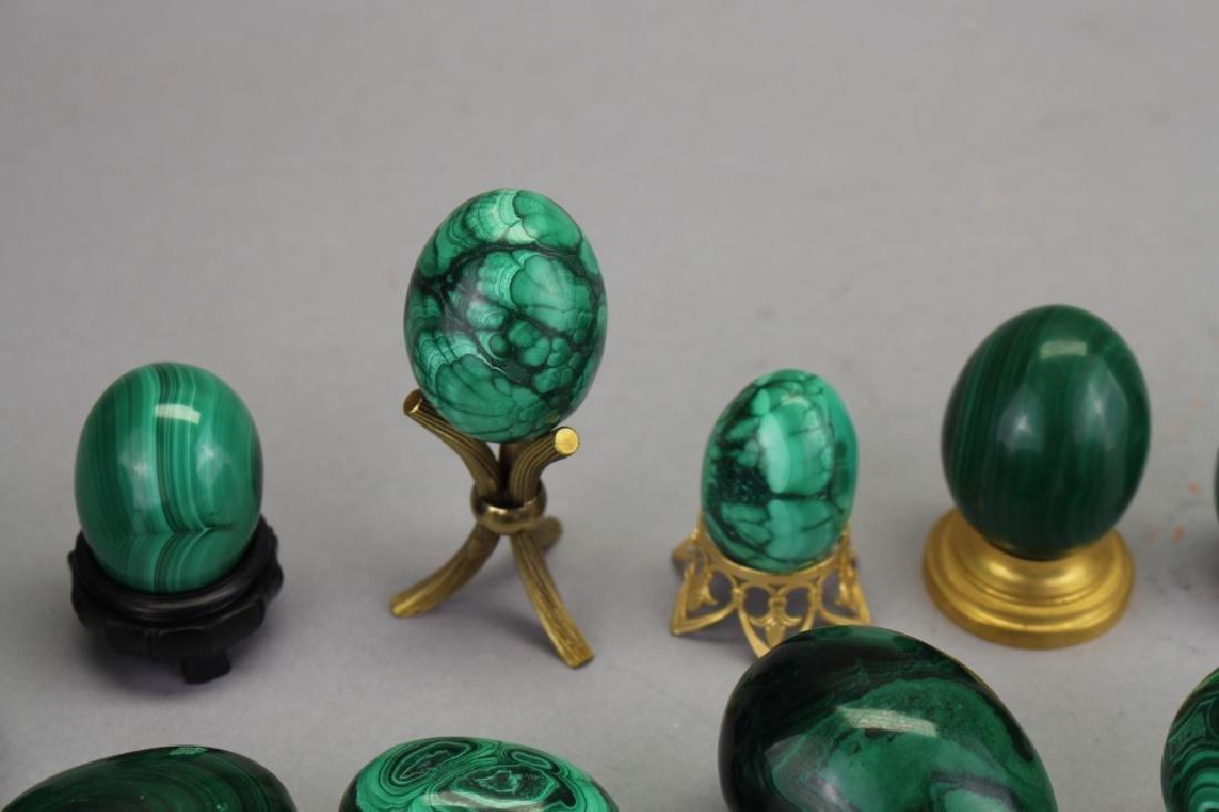 (12) Carved Malachite Eggs - 2