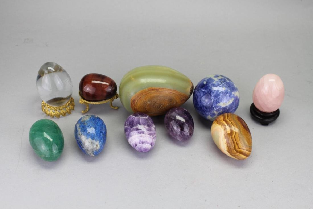 (10) Mixed Stone Carved Eggs - 2