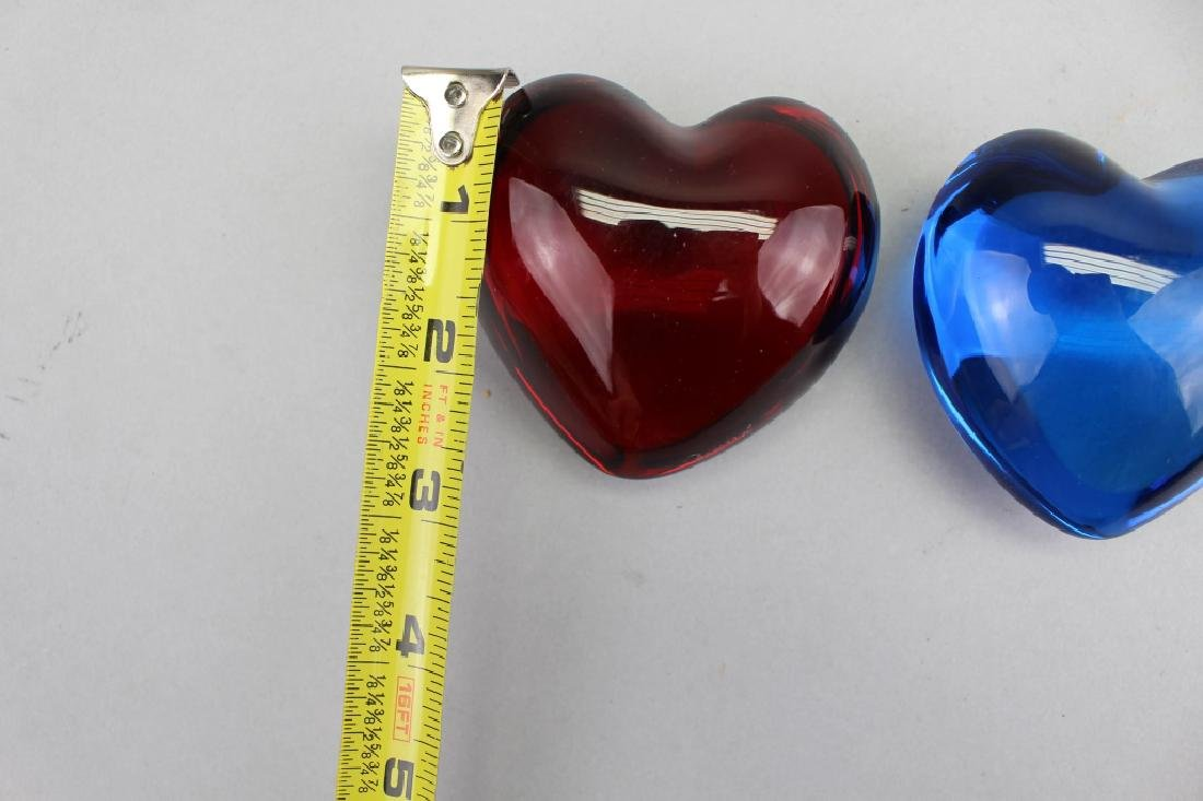 (2) Signed French Baccarat Heart Paperweights - 3