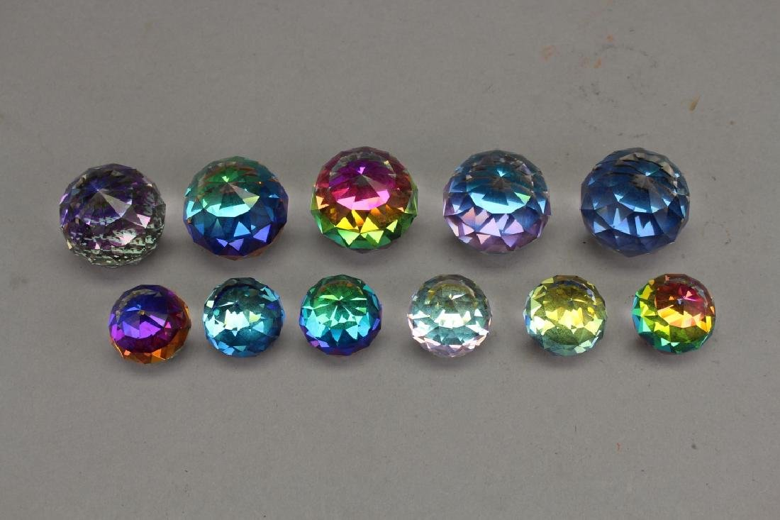 (11) Assorted Color Changing Crystal Paperweights