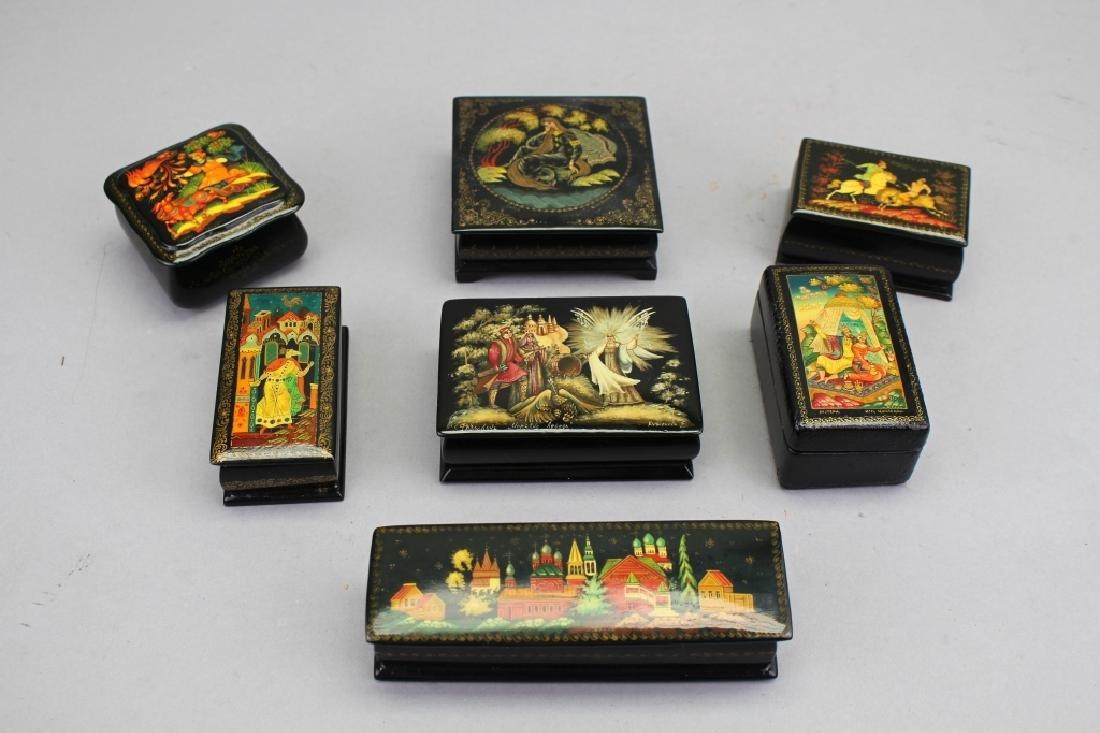 (7) Russian Lacquerware Boxes