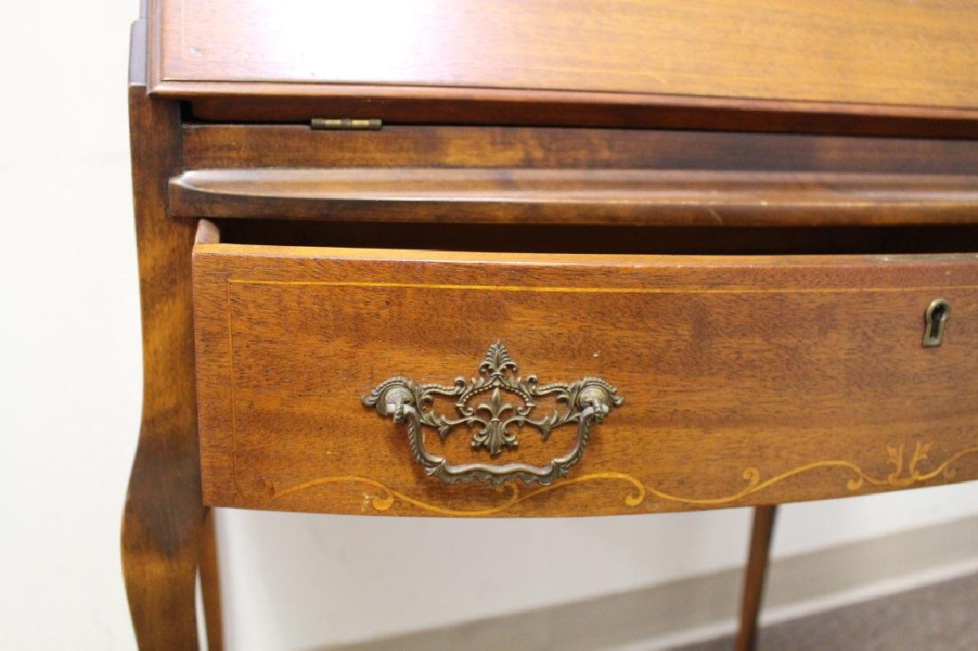 Inlaid One Drawer Drop Front Desk - 4