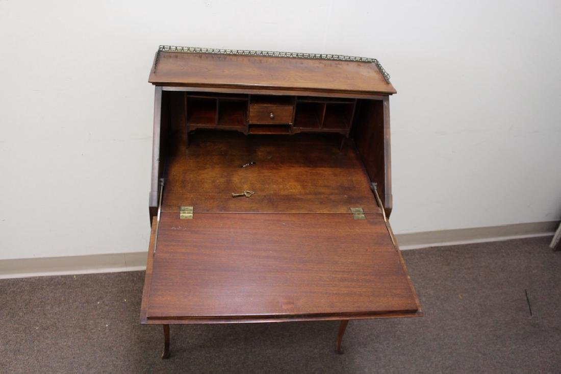 Inlaid One Drawer Drop Front Desk - 5
