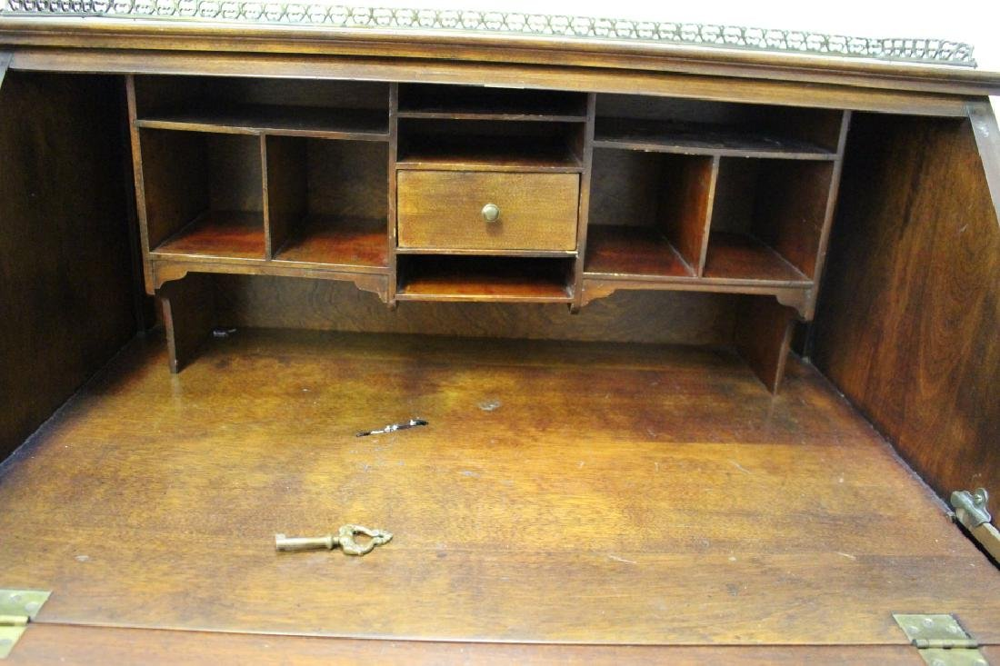 Inlaid One Drawer Drop Front Desk - 6