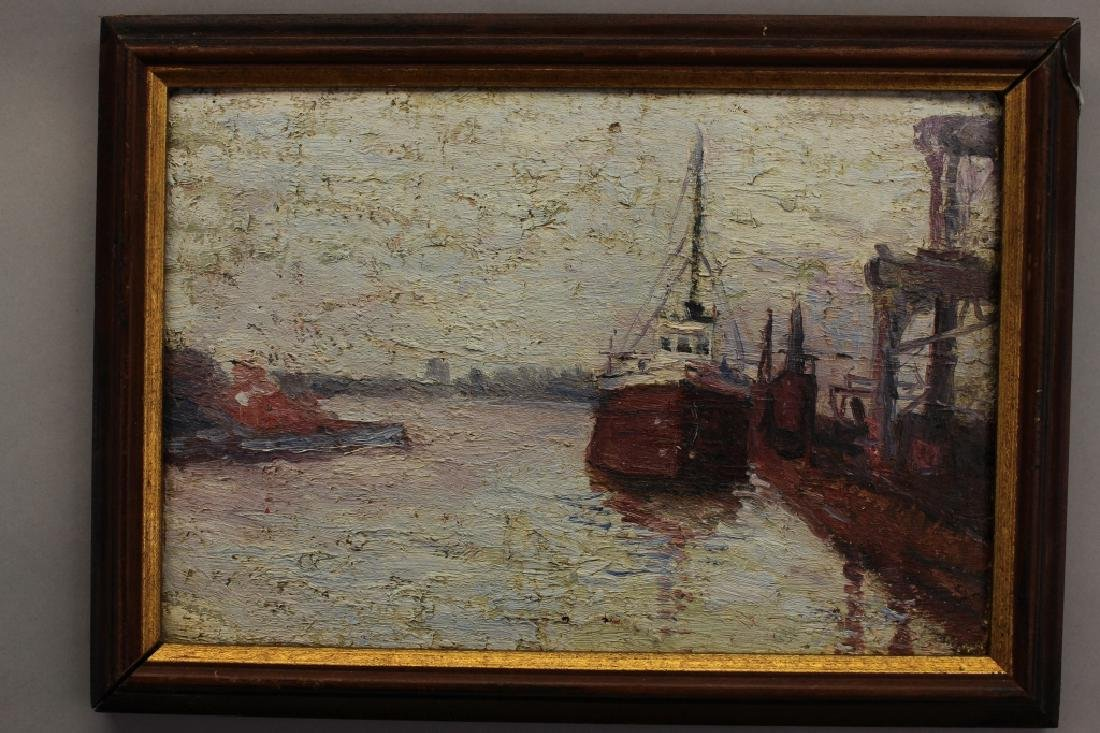 Early 20th C. New York Harbor Scene