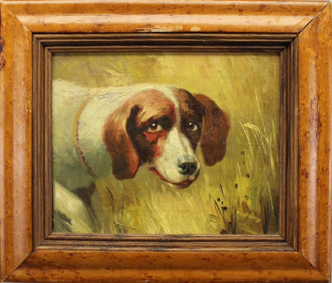 Portrait of a Hound, Bird's Eye Maple Frame