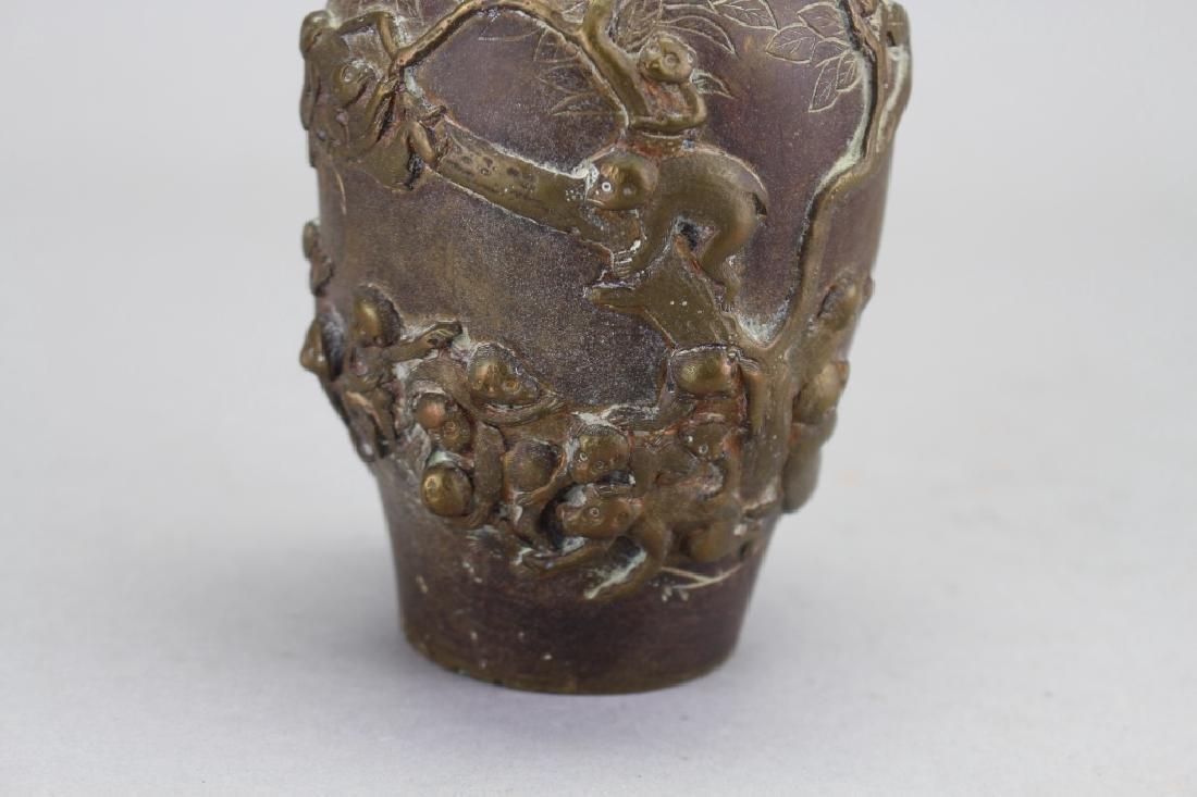 Antique Bronze Chinese Vase with Monkeys - 2