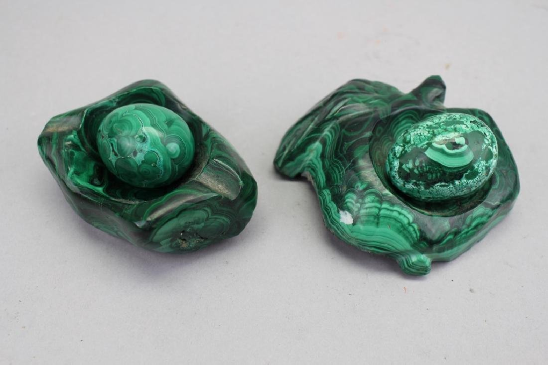 (2) Malachite Eggs w/ Carved Stands