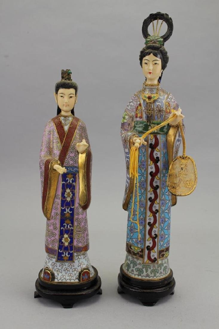 (2) Chinese Cloisonne Maiden Figures