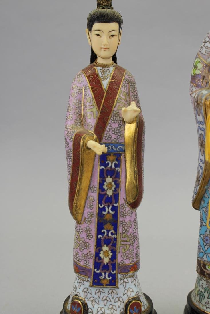(2) Chinese Cloisonne Maiden Figures - 2