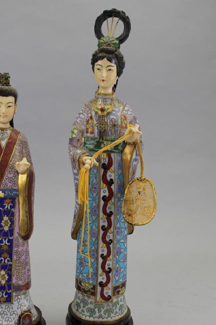 (2) Chinese Cloisonne Maiden Figures - 3