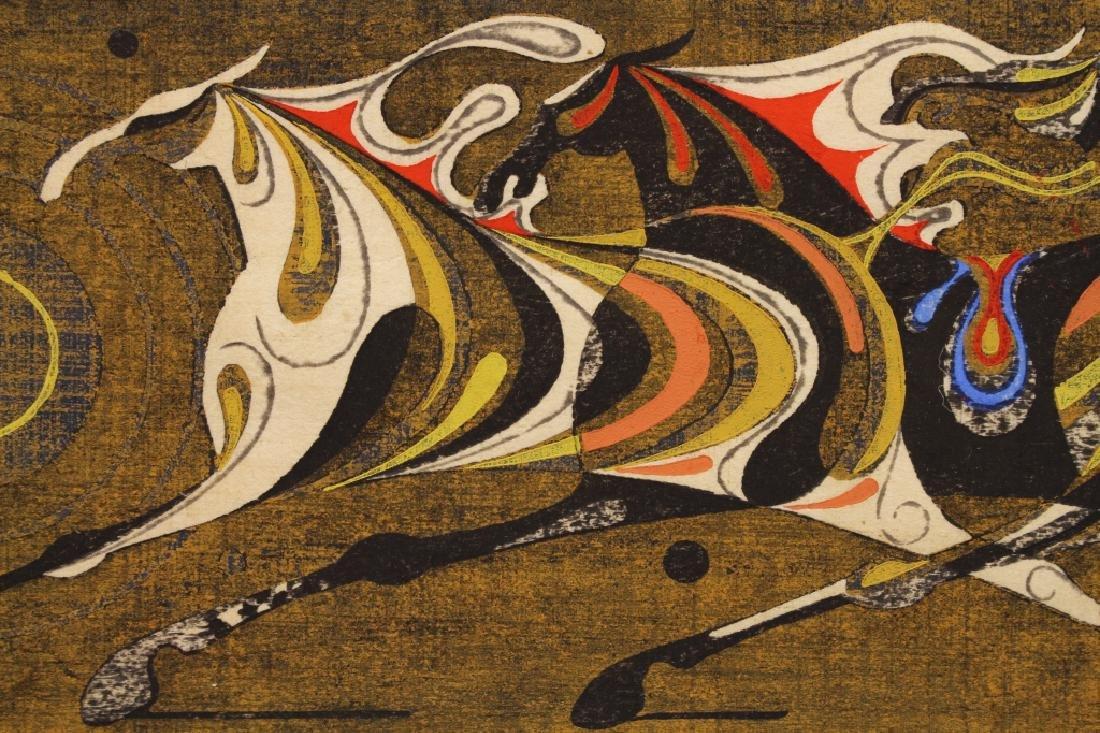 1969 Nakayama Signed Colored Etching of Horses - 3
