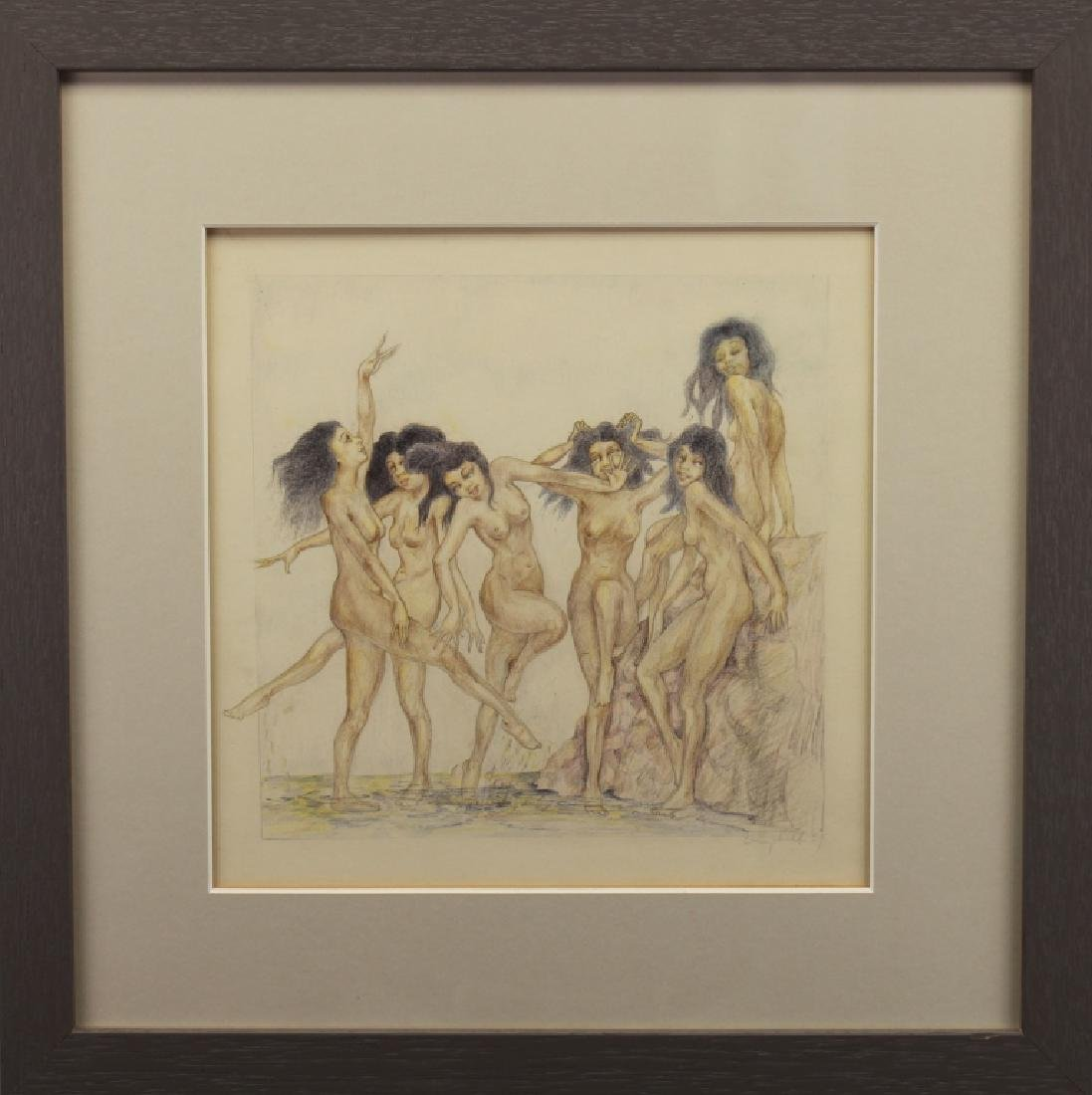 Signed, 1929 Nude Bathers Colored Pencil Drawing