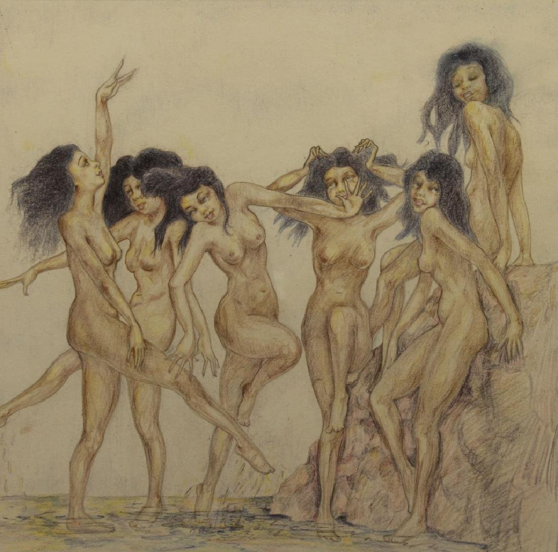 Signed, 1929 Nude Bathers Colored Pencil Drawing - 2