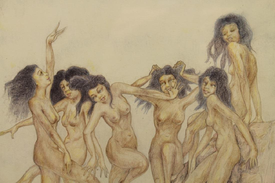 Signed, 1929 Nude Bathers Colored Pencil Drawing - 3