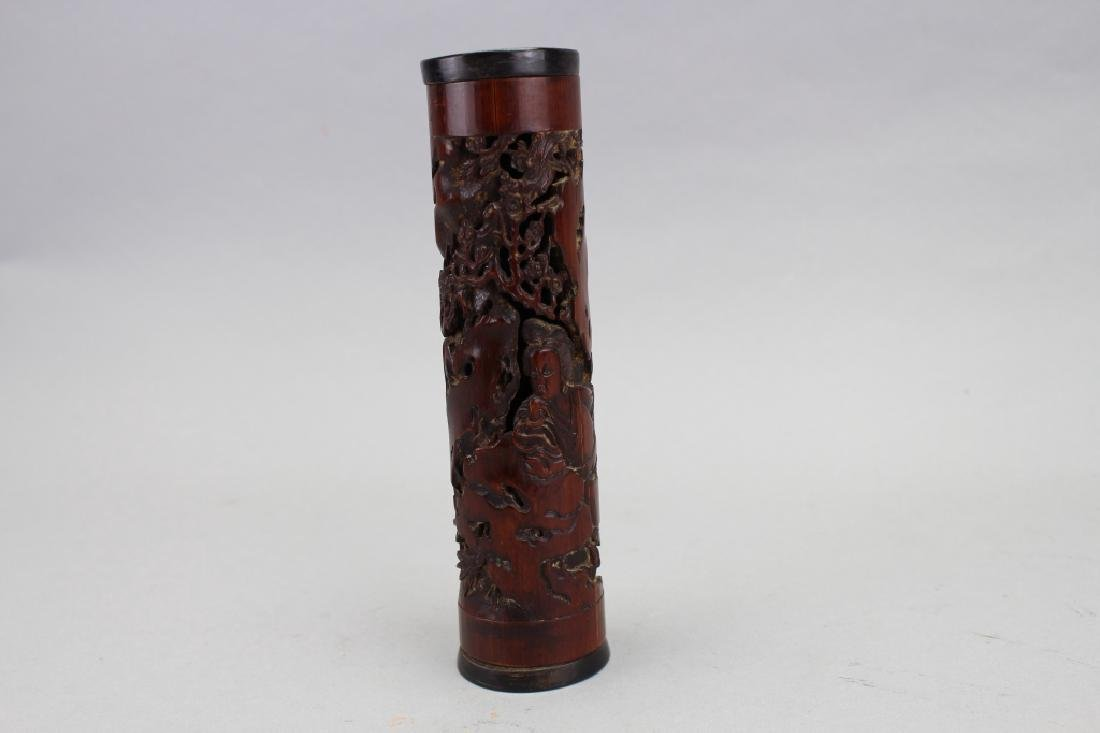 Chinese Carved Bamboo Figural Incense Burner