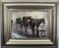 Signed Butler, Early 20th C. Horse Drawn Carriage