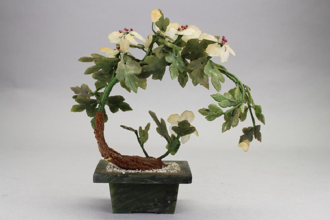 Carved Chinese Spinach Jade Tree - 2