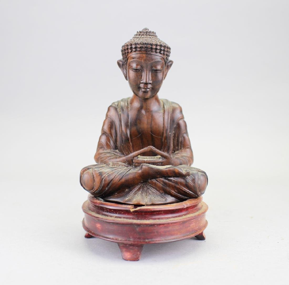 Carved Balinese Seated Buddha, Signed