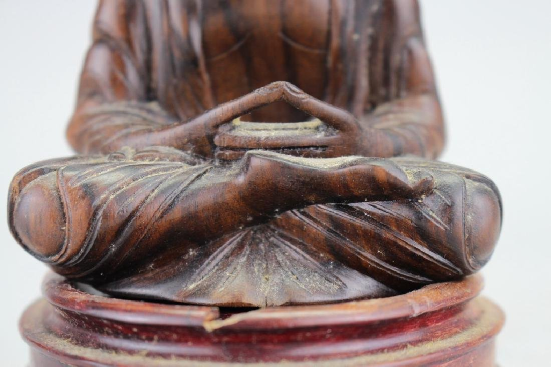 Carved Balinese Seated Buddha, Signed - 2