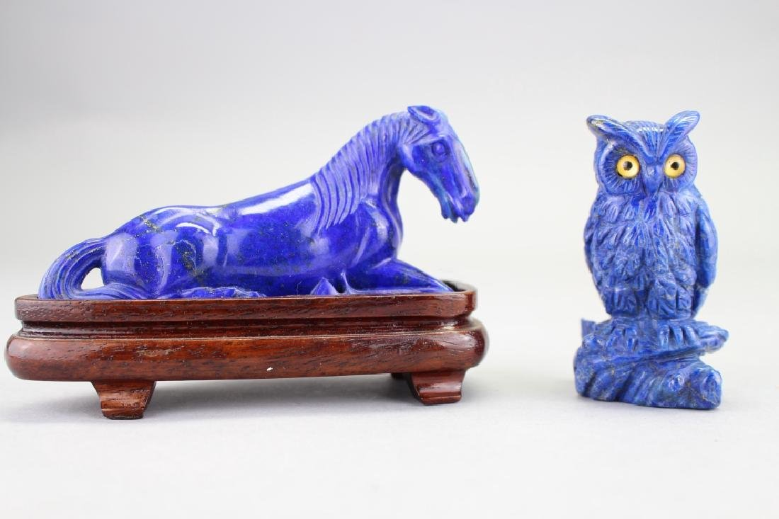 Carved Lapis Horse & Owl