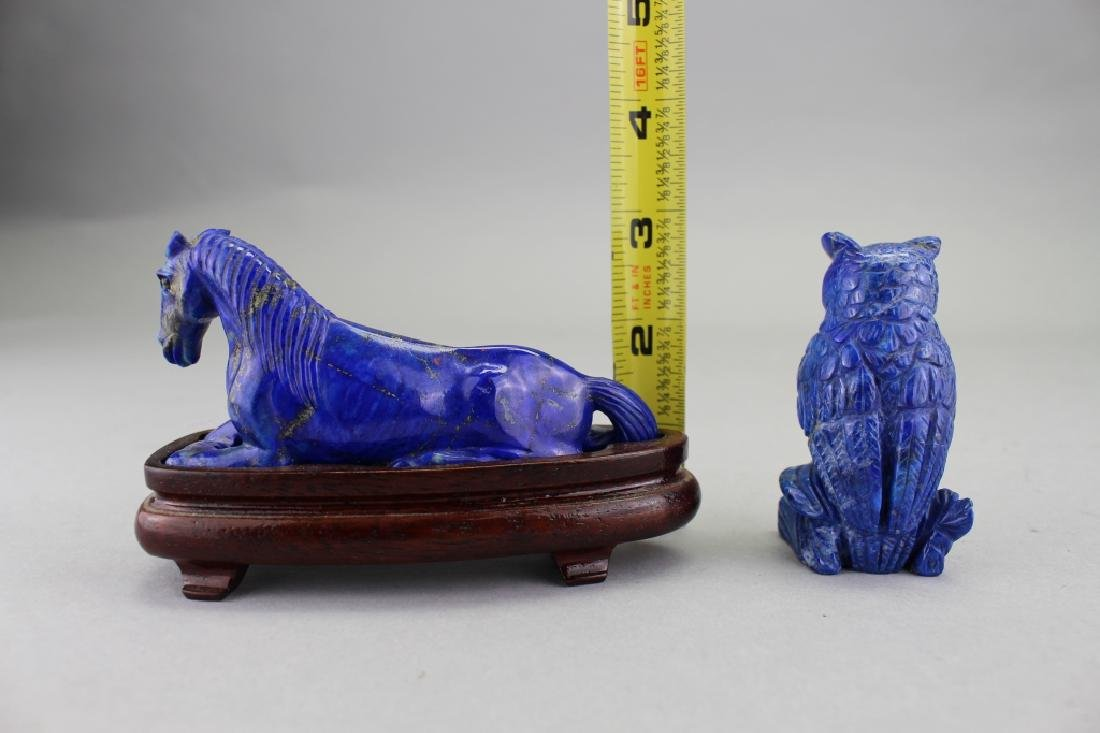 Carved Lapis Horse & Owl - 3
