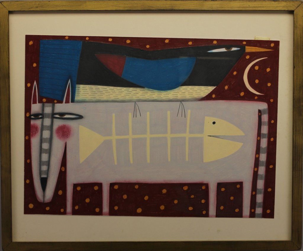 Modernist Painting of Cat Eating Fish