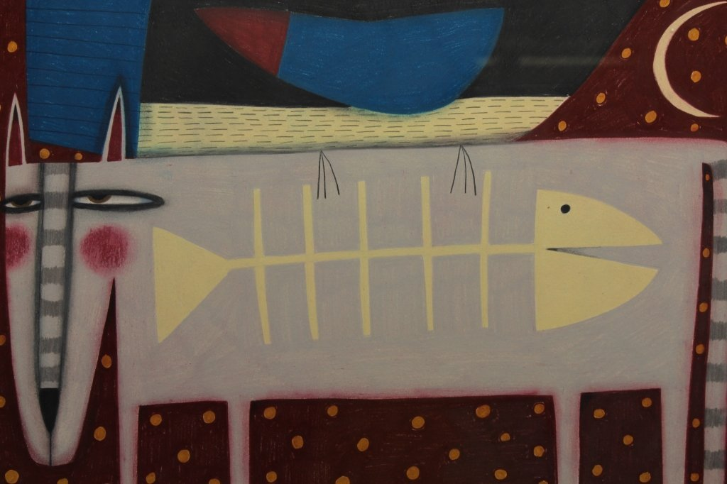 Modernist Painting of Cat Eating Fish - 2