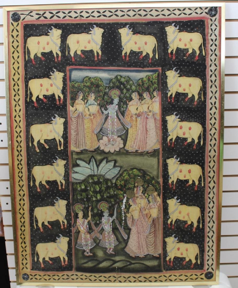 Vintage India Painted Cloth Scene