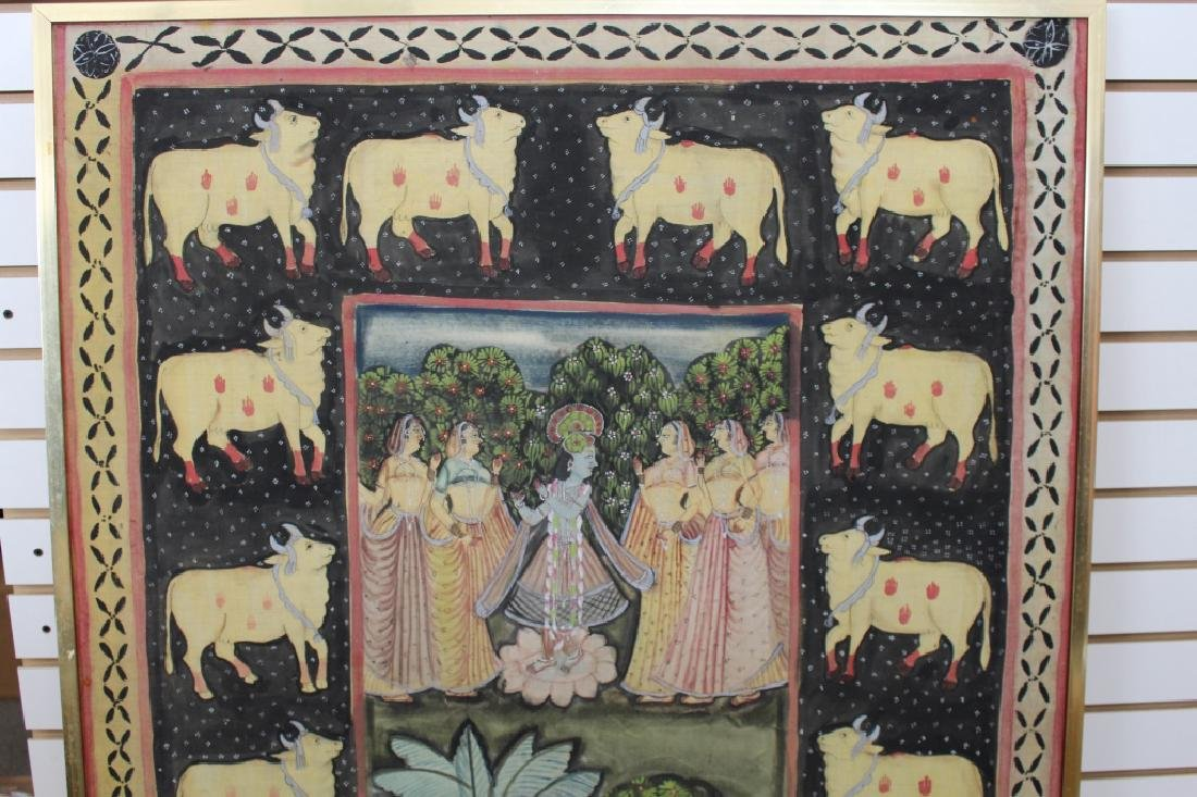 Vintage India Painted Cloth Scene - 2
