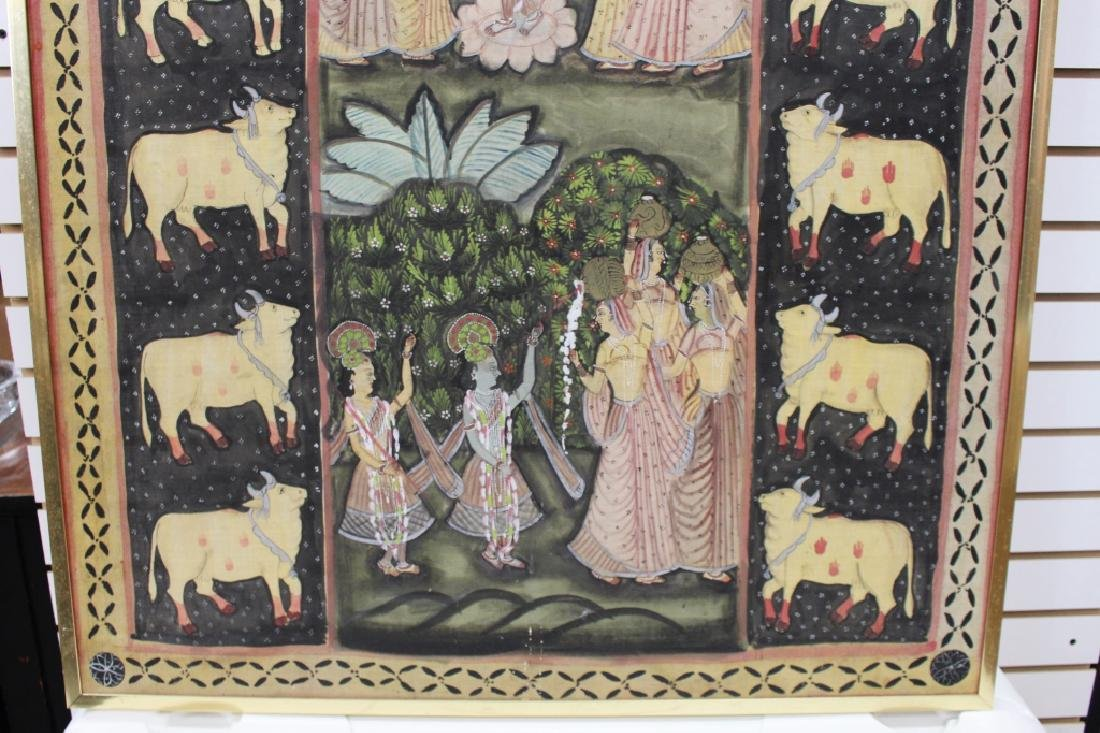Vintage India Painted Cloth Scene - 3