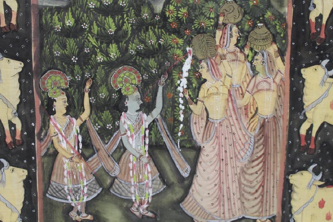 Vintage India Painted Cloth Scene - 4