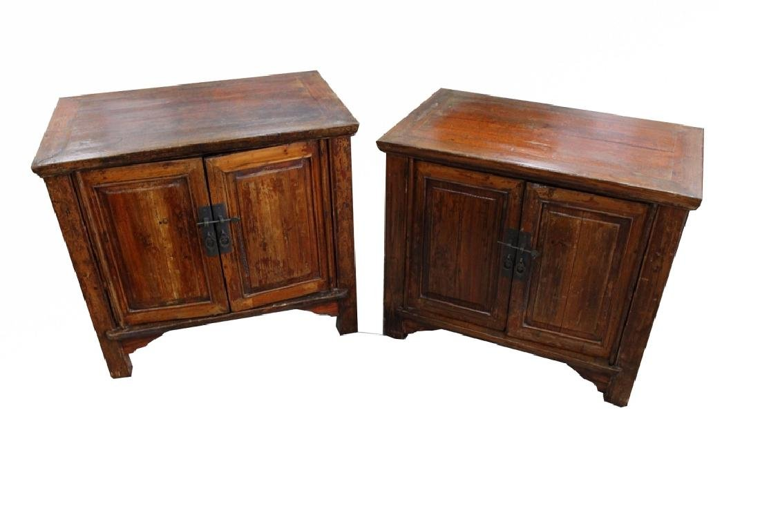 Pair, Antique Chinese Double Door Night Stands