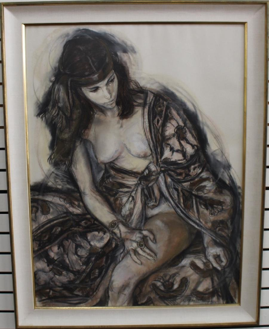 Signed 20th C. Mixed Media of a Nude Woman - 2
