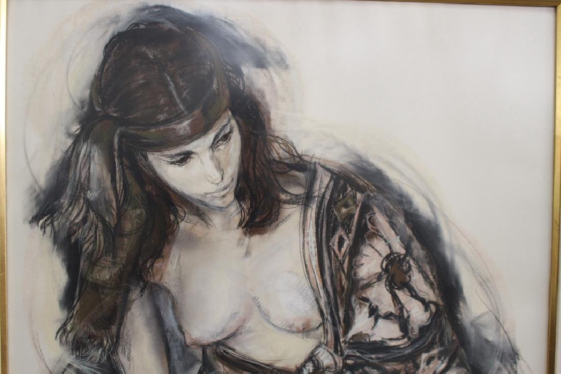 Signed 20th C. Mixed Media of a Nude Woman - 3