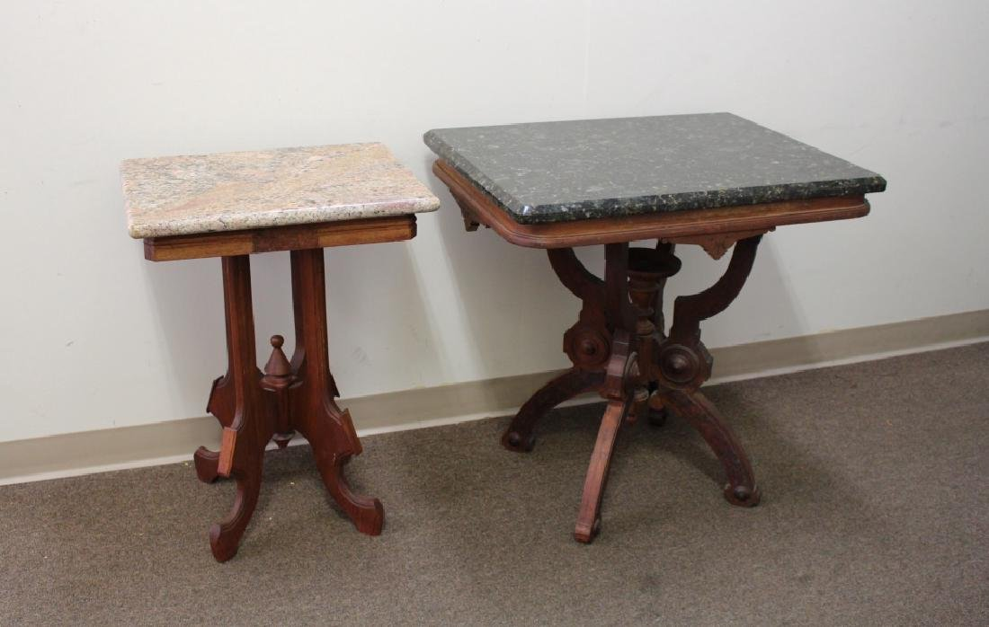 (2) Marble Top Occasional Tables