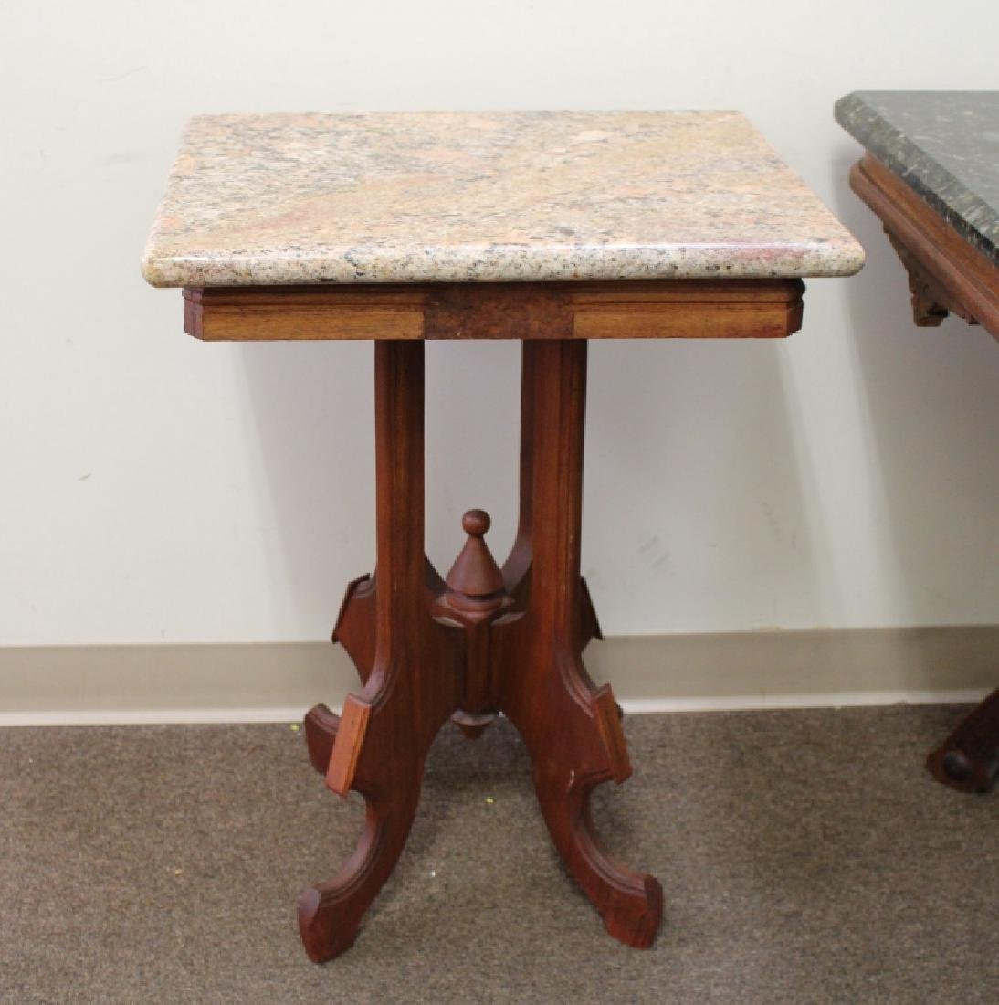 (2) Marble Top Occasional Tables - 2