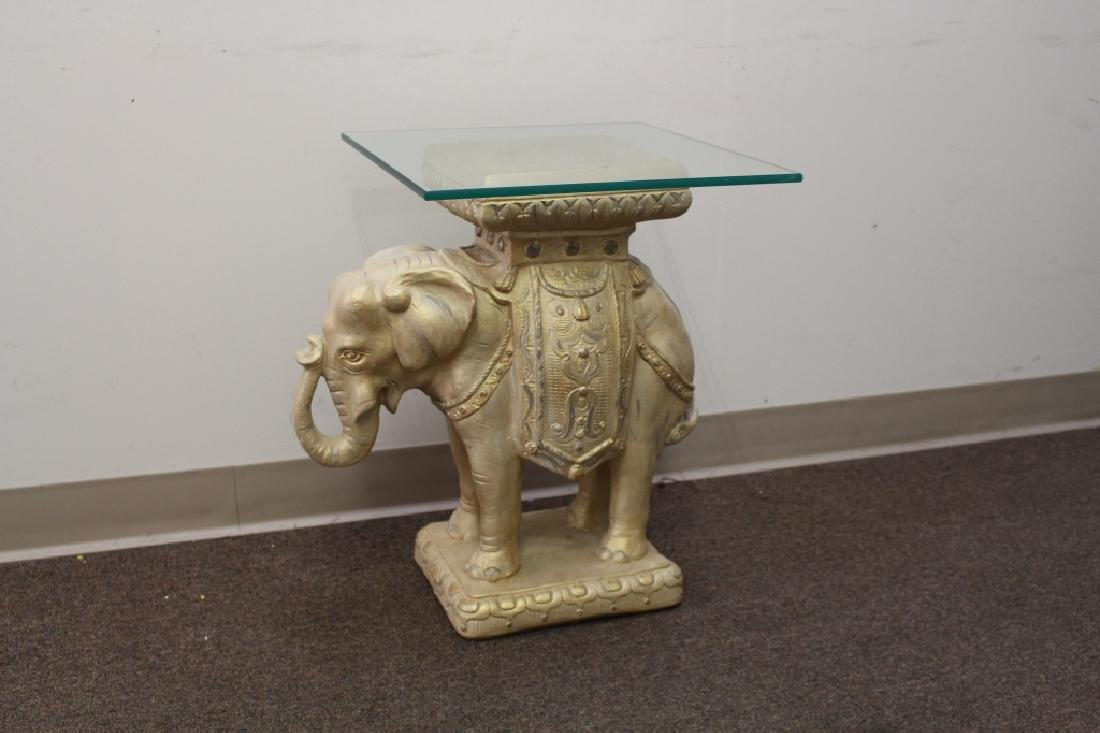 Plaster Elephant Side Table w/ Glass Top