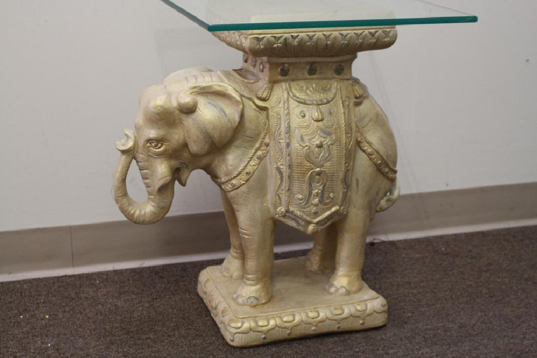 Plaster Elephant Side Table w/ Glass Top - 2