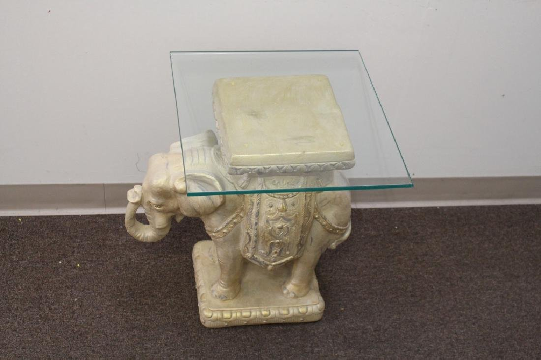 Plaster Elephant Side Table w/ Glass Top - 3