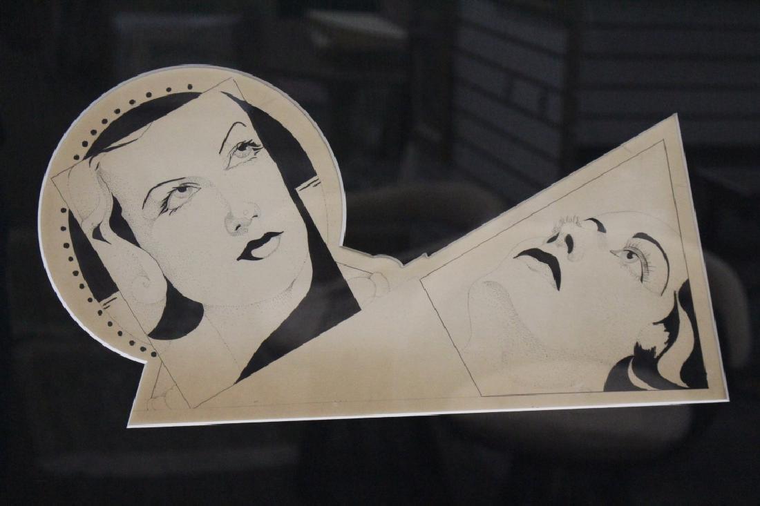 Art Deco Style Framed Portrait of a Woman