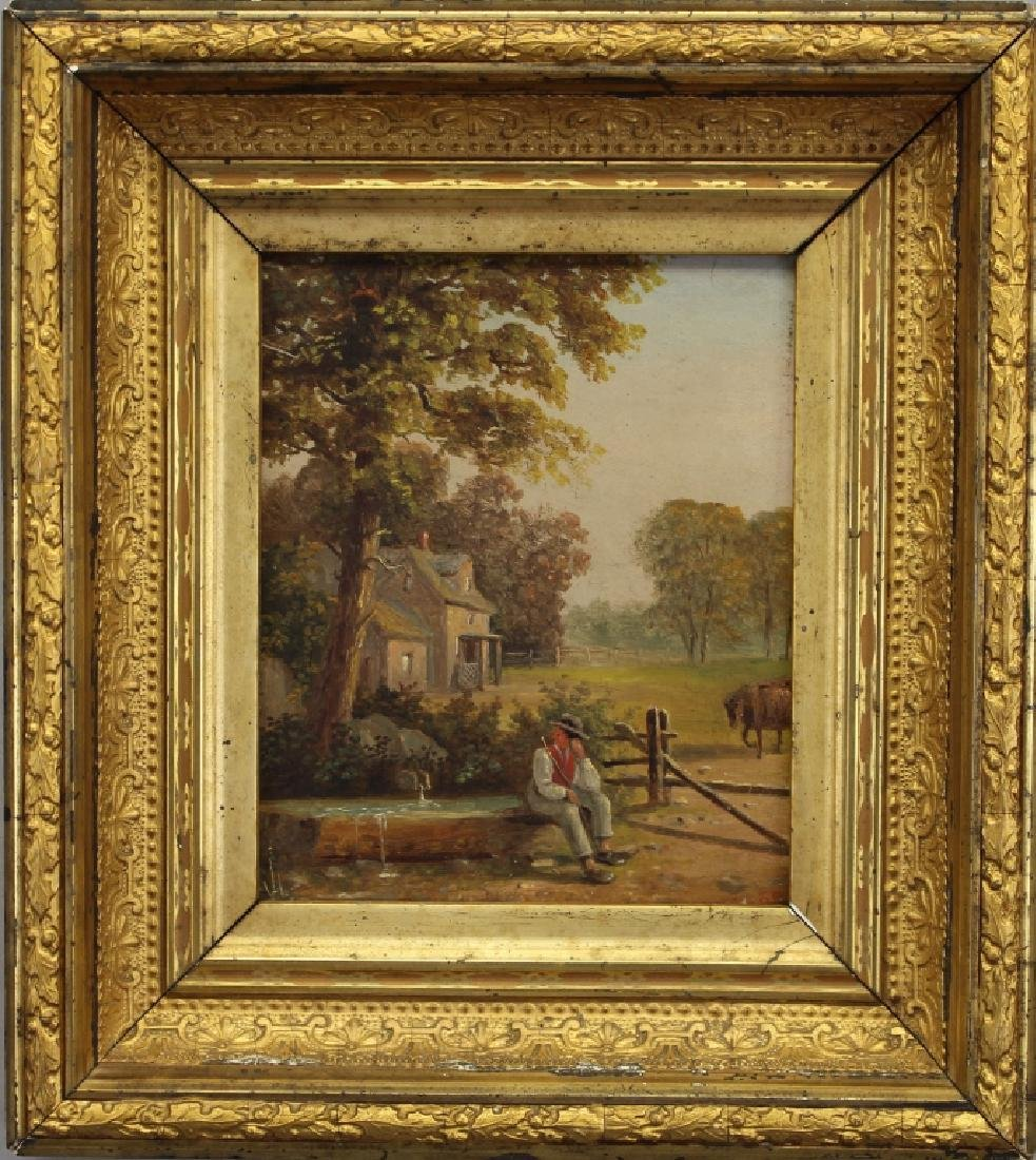 Signed 19th C. Painting of Farmer Near a Well
