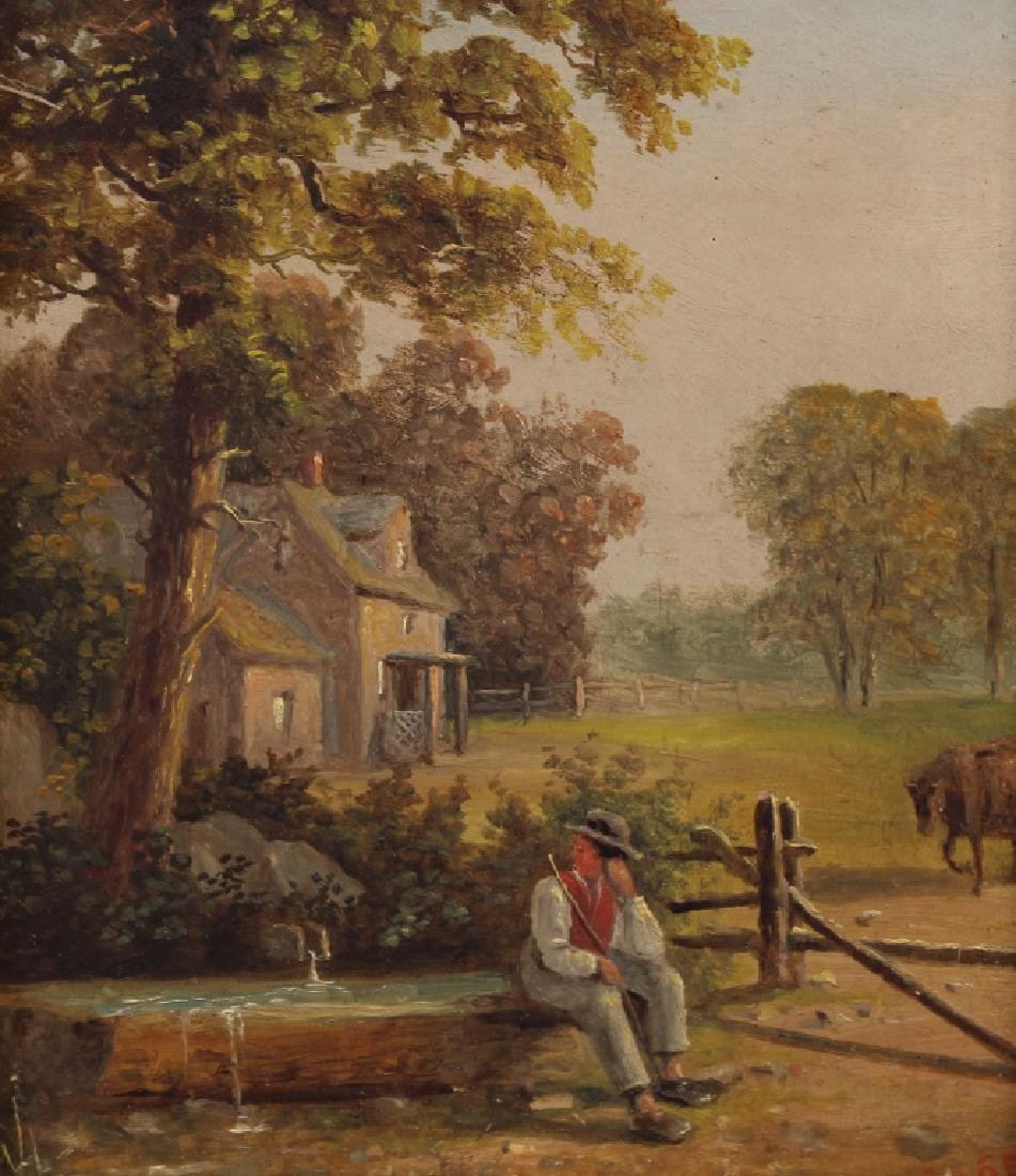 Signed 19th C. Painting of Farmer Near a Well - 2