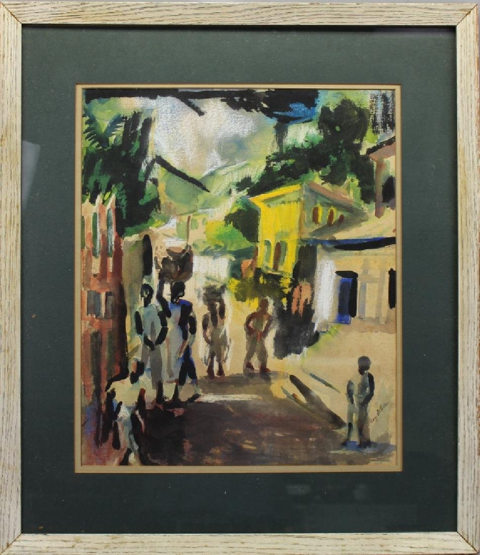 Signed, 20th C. Watercolor of Figures in a Street